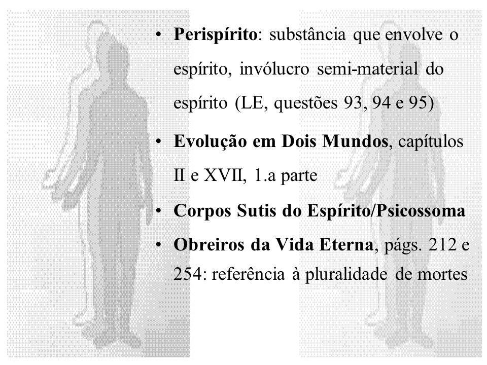 Perispírito: substância que envolve o espírito, invólucro semi-material do espírito (LE, questões 93, 94 e 95) Evolução em Dois Mundos, capítulos II e