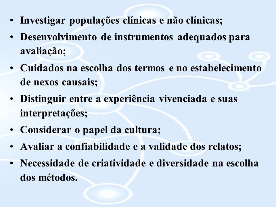 Investigar populações clínicas e não clínicas; Desenvolvimento de instrumentos adequados para avaliação; Cuidados na escolha dos termos e no estabelec