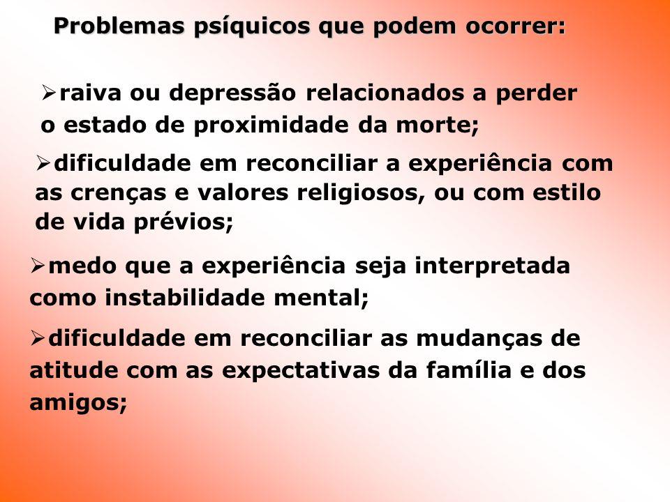 Problemas psíquicos que podem ocorrer: Problemas psíquicos que podem ocorrer: raiva ou depressão relacionados a perder o estado de proximidade da mort