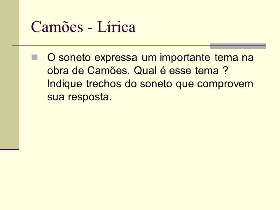Camões - Lírica O soneto expressa um importante tema na obra de Camões. Qual é esse tema ? Indique trechos do soneto que comprovem sua resposta.
