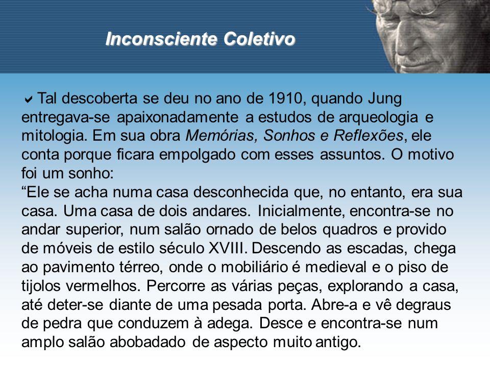 Inconsciente Coletivo Tal descoberta se deu no ano de 1910, quando Jung entregava-se apaixonadamente a estudos de arqueologia e mitologia. Em sua obra