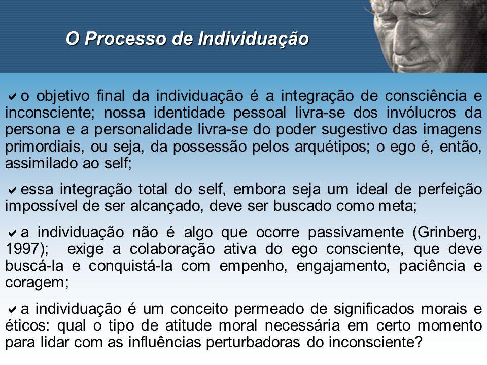 O Processo de Individuação o objetivo final da individuação é a integração de consciência e inconsciente; nossa identidade pessoal livra-se dos invólu