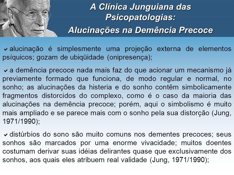 A Clínica Junguiana das Psicopatologias: Alucinações na Demência Precoce alucinação é simplesmente uma projeção externa de elementos psíquicos; gozam