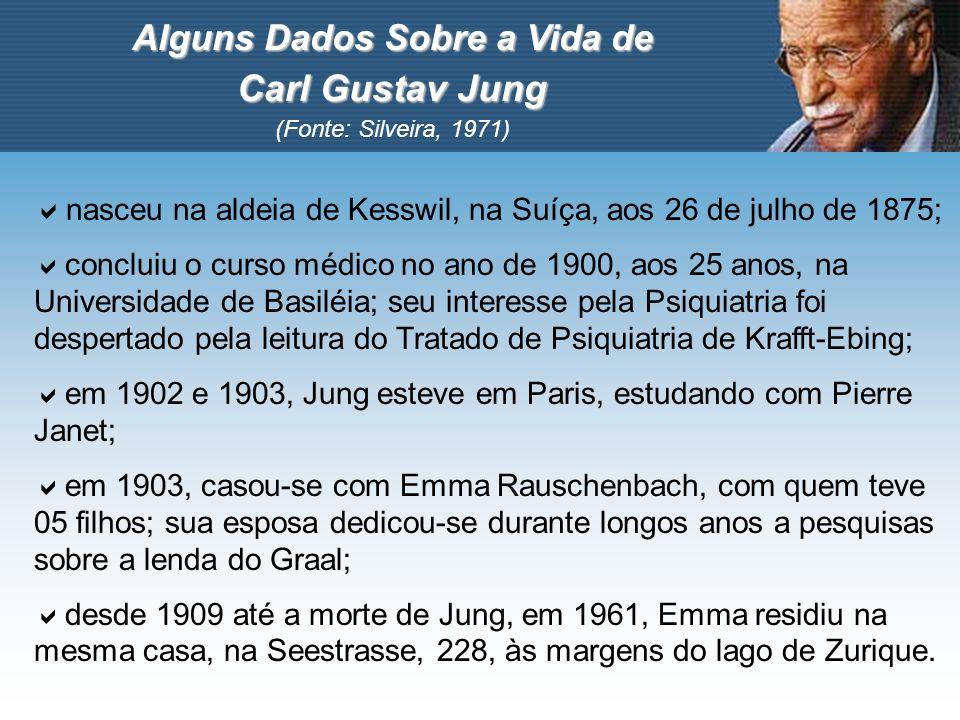 Alguns Dados Sobre a Vida de Carl Gustav Jung (Fonte: Silveira, 1971) nasceu na aldeia de Kesswil, na Suíça, aos 26 de julho de 1875; concluiu o curso