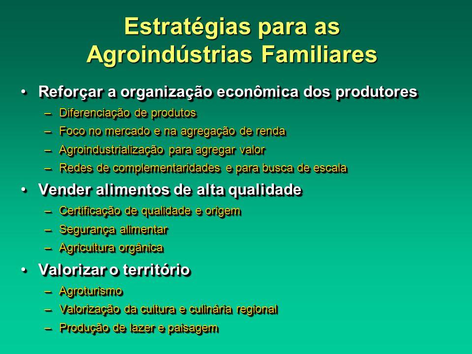 Estratégias para as Agroindústrias Familiares Reforçar a organização econômica dos produtoresReforçar a organização econômica dos produtores –Diferenc
