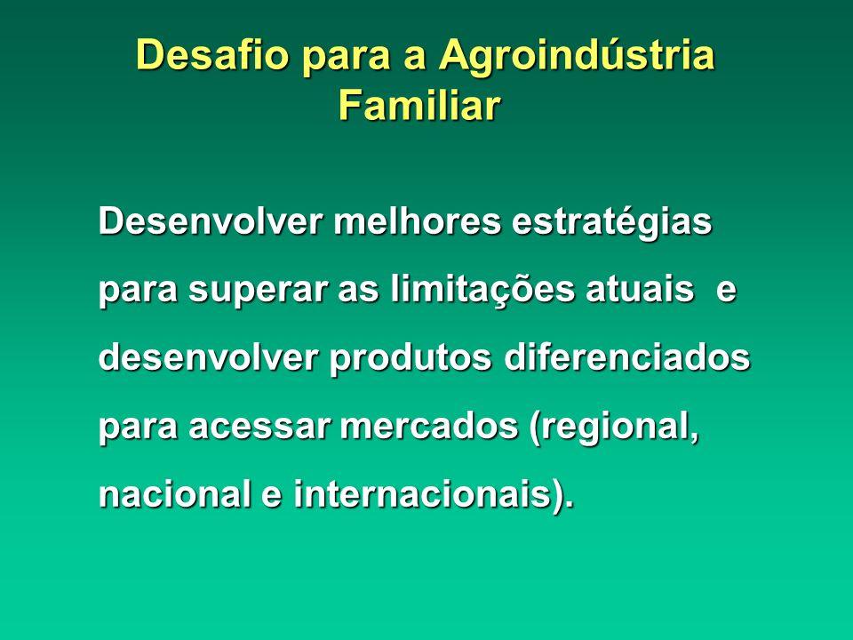 Desenvolver melhores estratégias para superar as limitações atuais e desenvolver produtos diferenciados para acessar mercados (regional, nacional e in