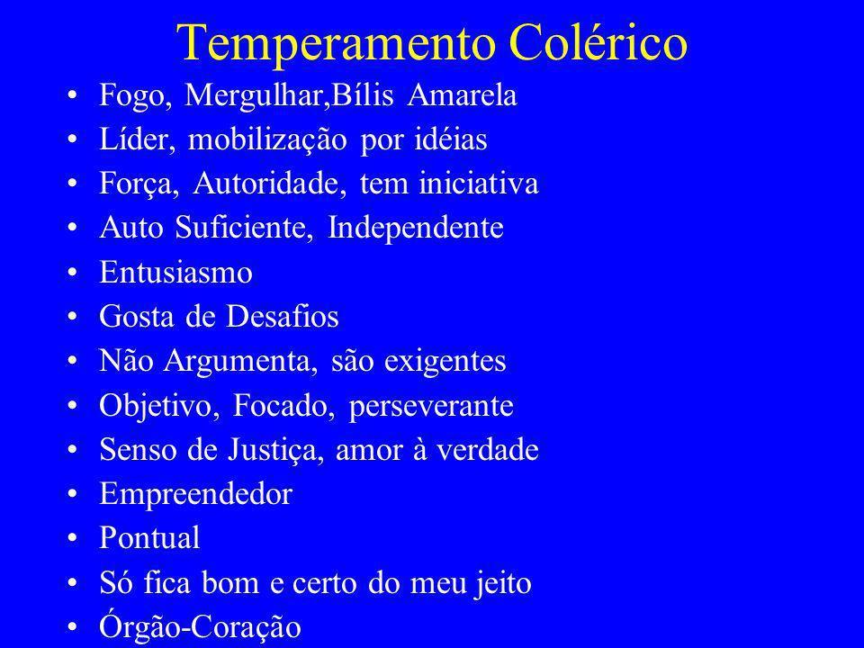 Temperamento Colérico Fogo, Mergulhar,Bílis Amarela Líder, mobilização por idéias Força, Autoridade, tem iniciativa Auto Suficiente, Independente Entu