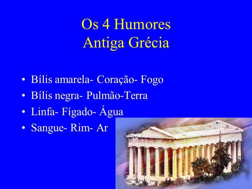 Os 4 Humores Antiga Grécia Bílis amarela- Coração- Fogo Bílis negra- Pulmão-Terra Linfa- Fígado- Água Sangue- Rim- Ar