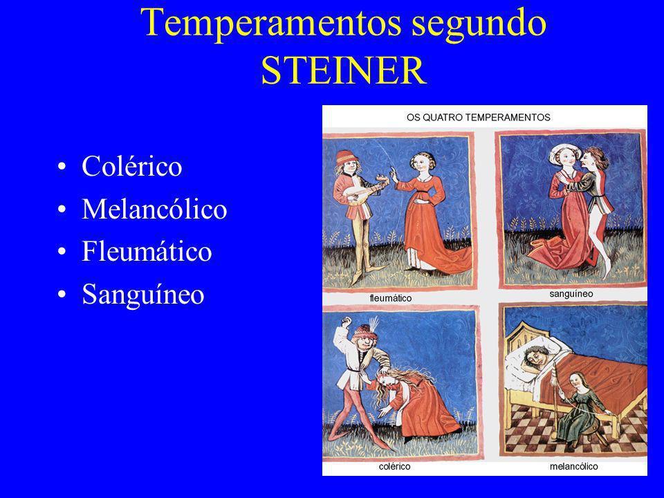 Temperamentos segundo STEINER Colérico Melancólico Fleumático Sanguíneo