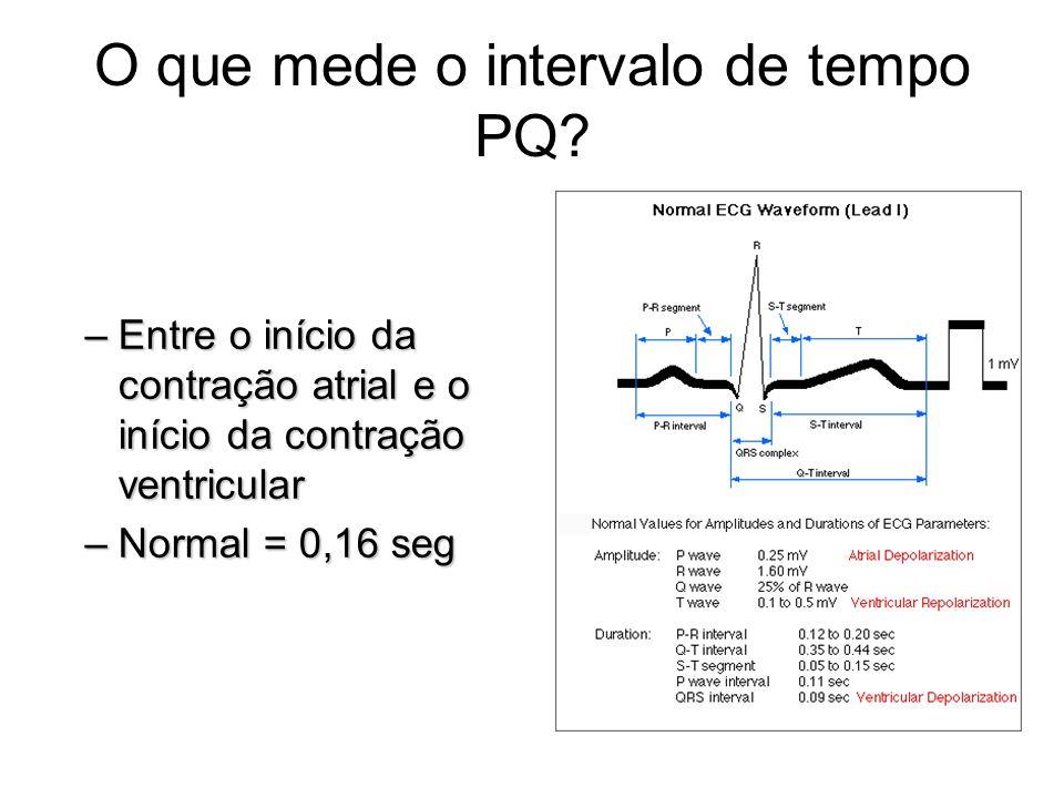 O que mede o intervalo de tempo PQ? –Entre o início da contração atrial e o início da contração ventricular –Normal = 0,16 seg