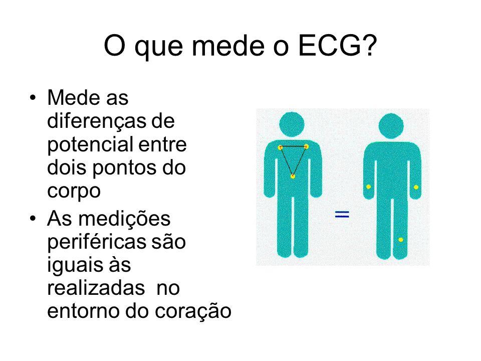 O que mede o ECG? Mede as diferenças de potencial entre dois pontos do corpo As medições periféricas são iguais às realizadas no entorno do coração