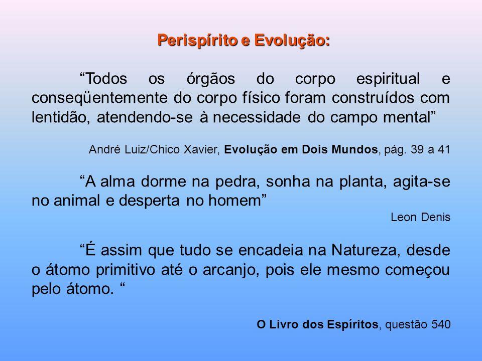 Perispírito e Evolução: Perispírito e Evolução: Todos os órgãos do corpo espiritual e conseqüentemente do corpo físico foram construídos com lentidão,