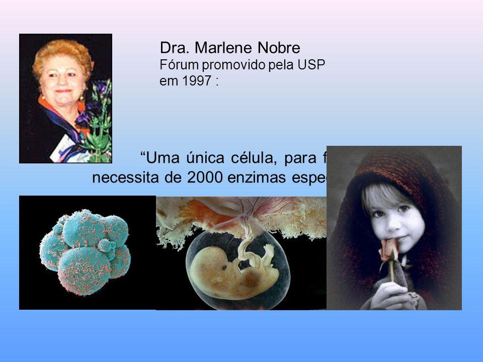Uma única célula, para funcionar, necessita de 2000 enzimas específicas Dra. Marlene Nobre Fórum promovido pela USP em 1997 :