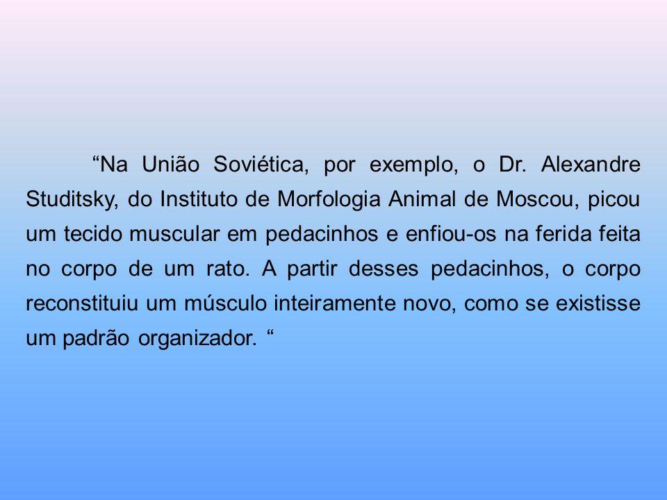 Na União Soviética, por exemplo, o Dr. Alexandre Studitsky, do Instituto de Morfologia Animal de Moscou, picou um tecido muscular em pedacinhos e enfi