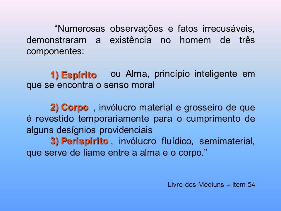 Numerosas observações e fatos irrecusáveis, demonstraram a existência no homem de três componentes: ou Alma, princípio inteligente em que se encontra