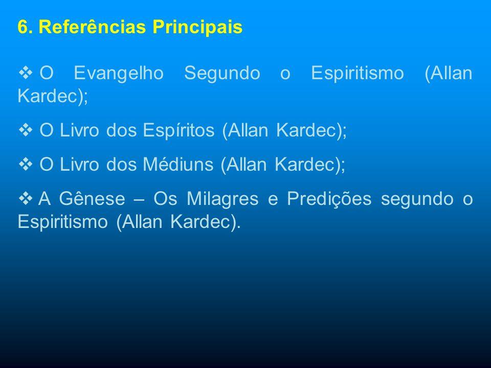 6. Referências Principais A Bíblia de Jerusalém; A Reencarnação (Gabriel Delane); O Fenômeno Espírita (Gabriel Delane); Mecanismos da Mediunidade (Fra