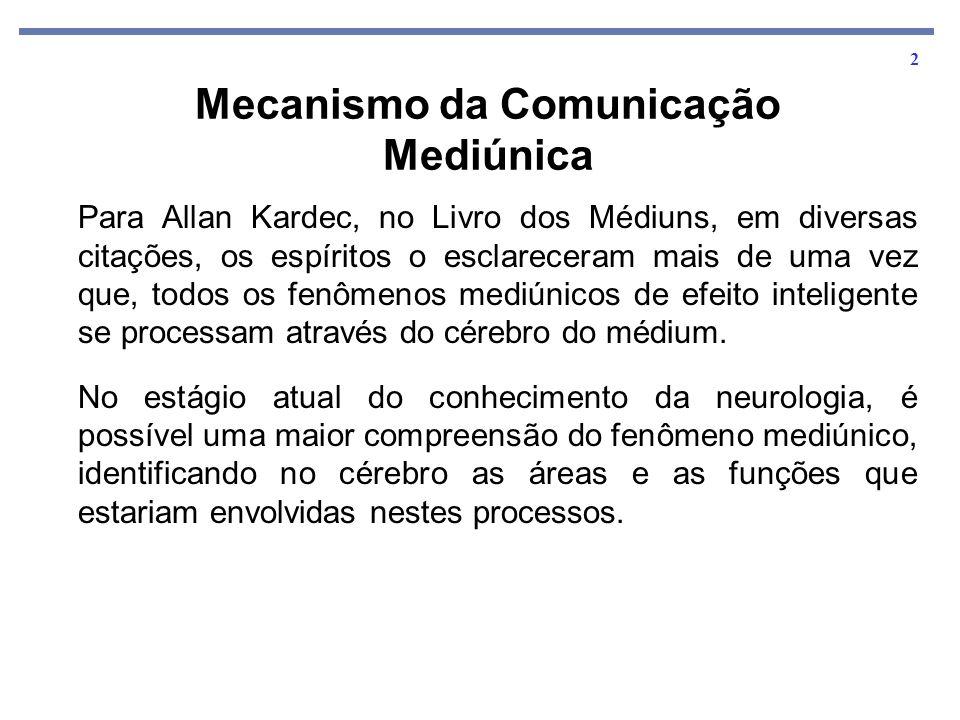 2 Mecanismo da Comunicação Mediúnica Para Allan Kardec, no Livro dos Médiuns, em diversas citações, os espíritos o esclareceram mais de uma vez que, t