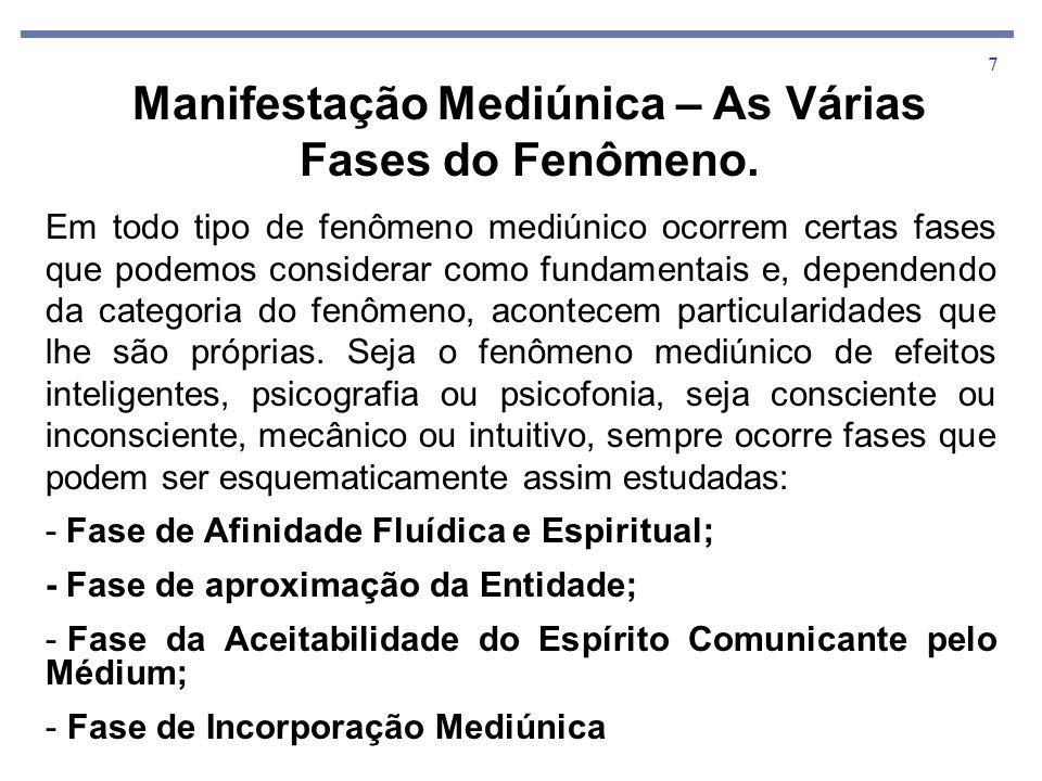 8 Antes de ocorrer um fenômeno, é o médium sondado psiquicamente para avaliar a sua capacidade vibratória, em obediência a lei da combinação fluídica.