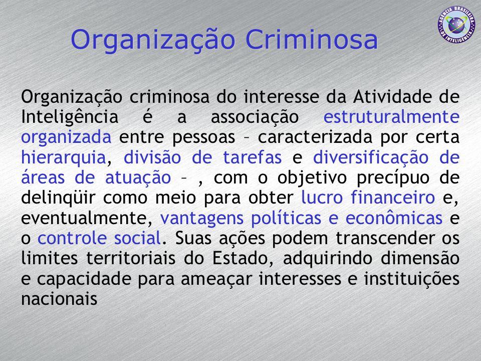 Organização Criminosa Organização criminosa do interesse da Atividade de Inteligência é a associação estruturalmente organizada entre pessoas – caract