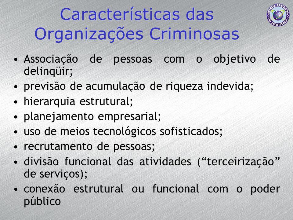 Características das Organizações Criminosas Associação de pessoas com o objetivo de delinqüir; previsão de acumulação de riqueza indevida; hierarquia