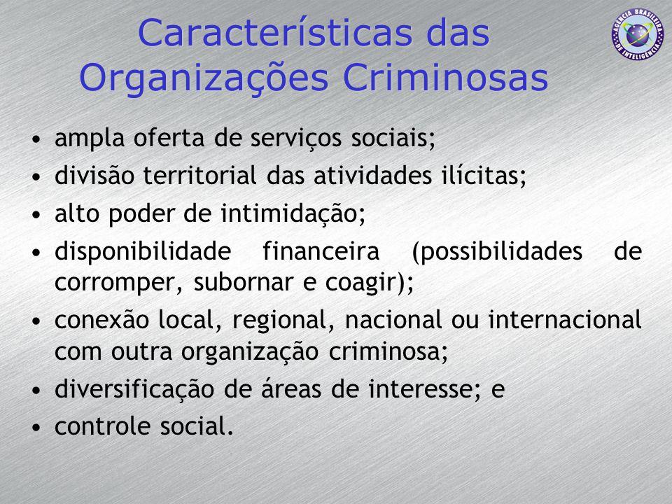 Características das Organizações Criminosas ampla oferta de serviços sociais; divisão territorial das atividades ilícitas; alto poder de intimidação;