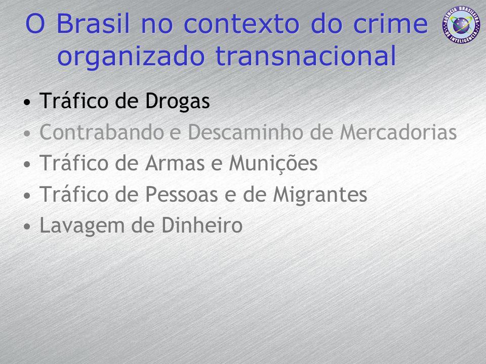 O Brasil no contexto do crime organizado transnacional Tráfico de Drogas Contrabando e Descaminho de Mercadorias Tráfico de Armas e Munições Tráfico d