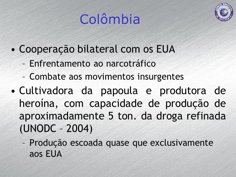 Colômbia Cooperação bilateral com os EUA –Enfrentamento ao narcotráfico –Combate aos movimentos insurgentes Cultivadora da papoula e produtora de hero