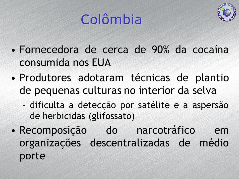 Colômbia Fornecedora de cerca de 90% da cocaína consumida nos EUA Produtores adotaram técnicas de plantio de pequenas culturas no interior da selva –d