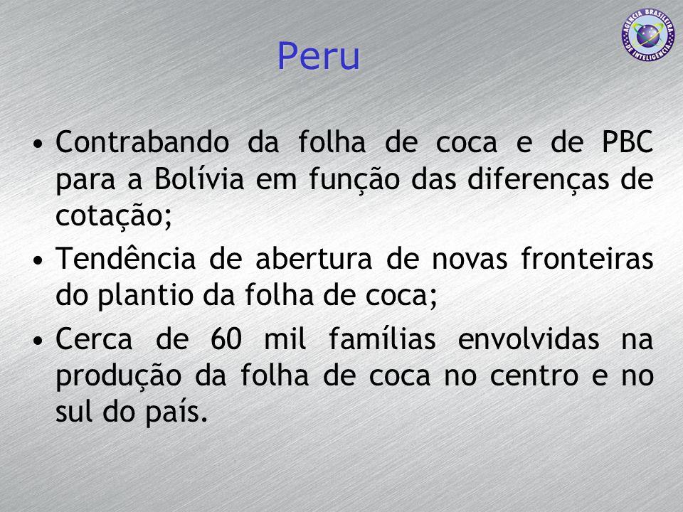 Peru Contrabando da folha de coca e de PBC para a Bolívia em função das diferenças de cotação; Tendência de abertura de novas fronteiras do plantio da