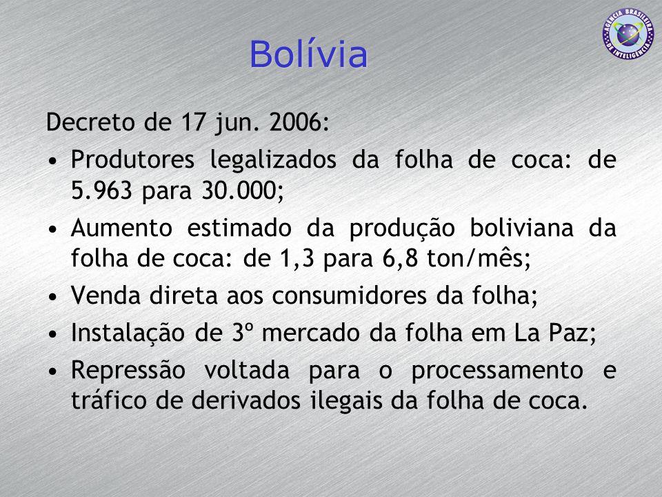 Bolívia Decreto de 17 jun. 2006: Produtores legalizados da folha de coca: de 5.963 para 30.000; Aumento estimado da produção boliviana da folha de coc