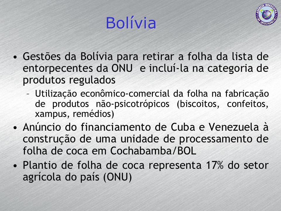 Bolívia Gestões da Bolívia para retirar a folha da lista de entorpecentes da ONU e incluí-la na categoria de produtos regulados –Utilização econômico-