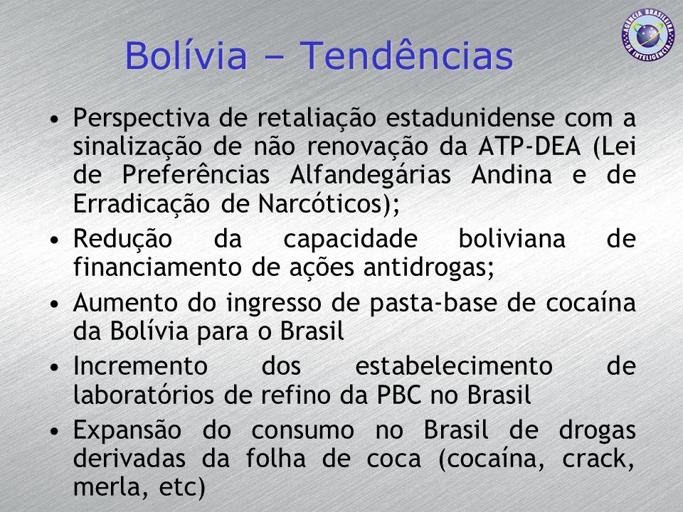 Bolívia – Tendências Perspectiva de retaliação estadunidense com a sinalização de não renovação da ATP-DEA (Lei de Preferências Alfandegárias Andina e
