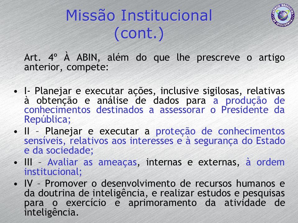 Missão Institucional (cont.) Art. 4º À ABIN, além do que lhe prescreve o artigo anterior, compete: I- Planejar e executar ações, inclusive sigilosas,