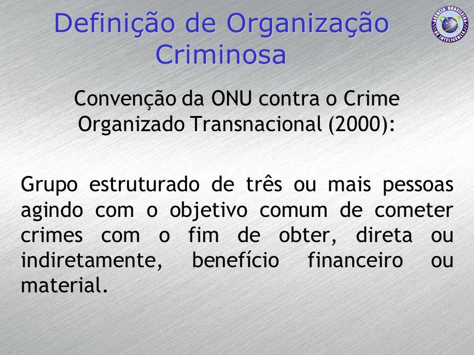 Definição de Organização Criminosa Convenção da ONU contra o Crime Organizado Transnacional (2000): Grupo estruturado de três ou mais pessoas agindo c