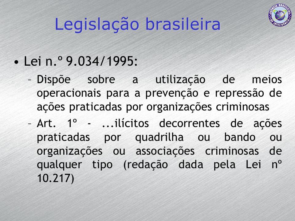 Legislação brasileira Lei n.º 9.034/1995: –Dispõe sobre a utilização de meios operacionais para a prevenção e repressão de ações praticadas por organi