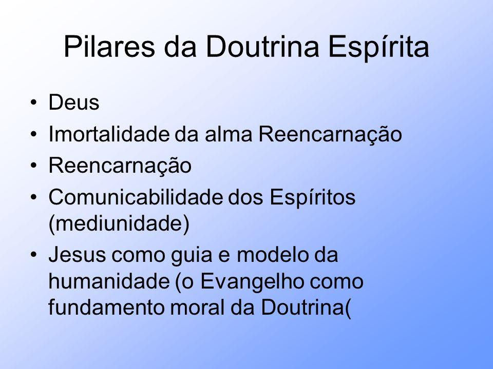 Pilares da Doutrina Espírita Deus Imortalidade da alma Reencarnação Reencarnação Comunicabilidade dos Espíritos (mediunidade) Jesus como guia e modelo