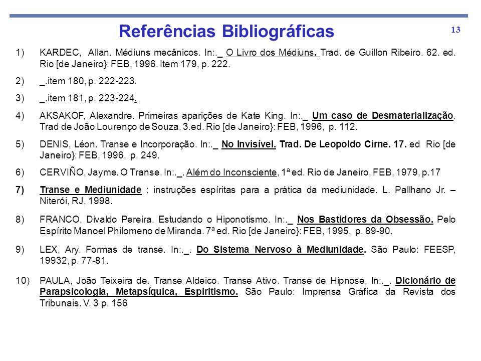 13 1)KARDEC, Allan. Médiuns mecânicos. In:._ O Livro dos Médiuns. Trad. de Guillon Ribeiro. 62. ed. Rio [de Janeiro}: FEB, 1996. Item 179, p. 222. 2)_