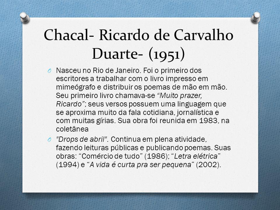 Chacal- Ricardo de Carvalho Duarte- (1951) O Nasceu no Rio de Janeiro. Foi o primeiro dos escritores a trabalhar com o livro impresso em mimeógrafo e