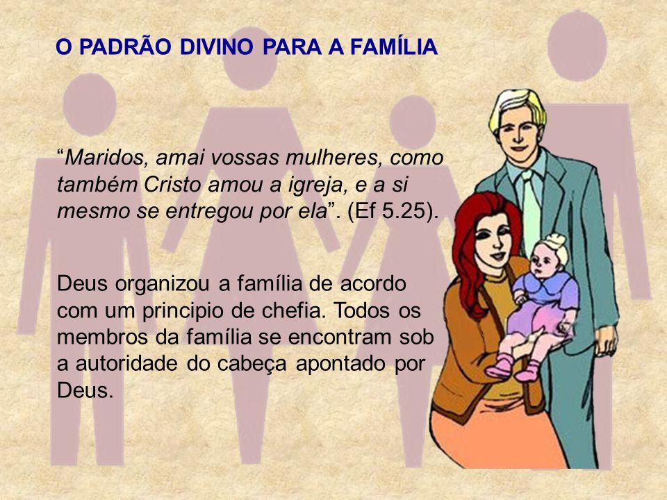 O PADRÃO DIVINO PARA A FAMÍLIA Deus organizou a família de acordo com um principio de chefia. Todos os membros da família se encontram sob a autoridad