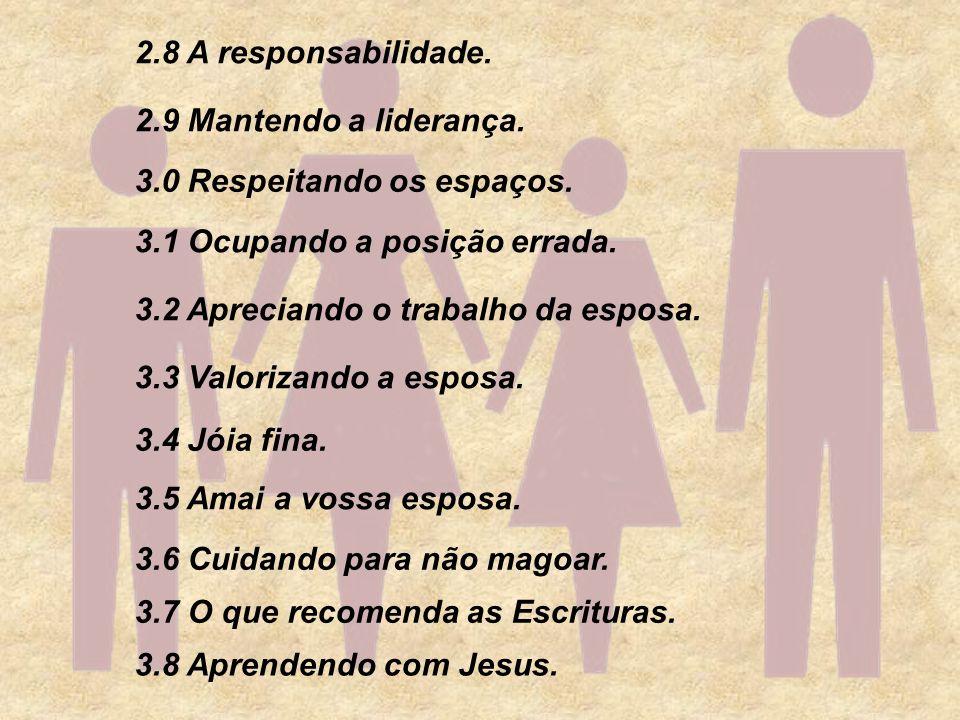2.8 A responsabilidade. 3.8 Aprendendo com Jesus. 3.7 O que recomenda as Escrituras. 3.6 Cuidando para não magoar. 3.5 Amai a vossa esposa. 3.3 Valori