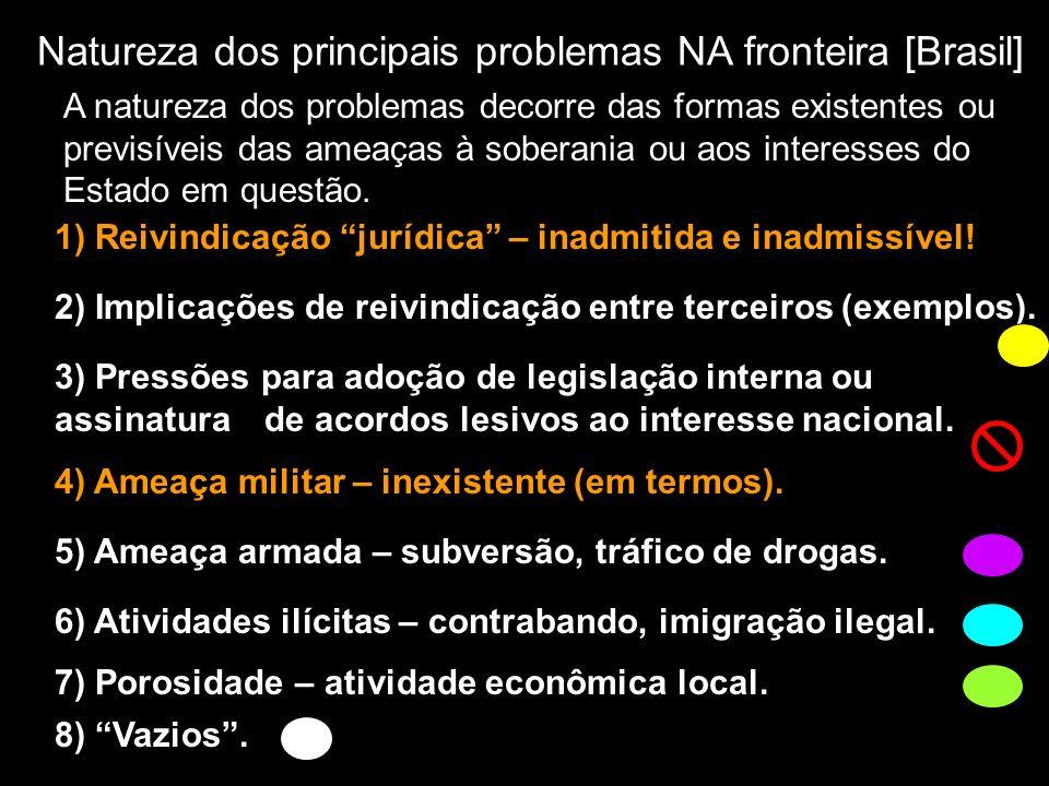 Natureza dos principais problemas NA fronteira [Brasil] 1) Reivindicação jurídica – inadmitida e inadmissível! 2) Implicações de reivindicação entre t