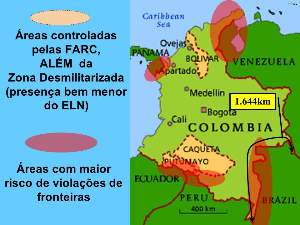 Áreas controladas pelas FARC, ALÉM da Zona Desmilitarizada (presença bem menor do ELN) Áreas com maior risco de violações de fronteiras mhcc 1.644km