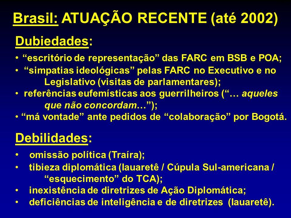 Dubiedades: escritório de representação das FARC em BSB e POA; simpatias ideológicas pelas FARC no Executivo e no Legislativo (visitas de parlamentare