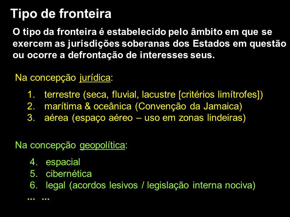 1. terrestre (seca, fluvial, lacustre [critérios limítrofes]) 2. marítima & oceânica (Convenção da Jamaica) 3. aérea (espaço aéreo – uso em zonas lind