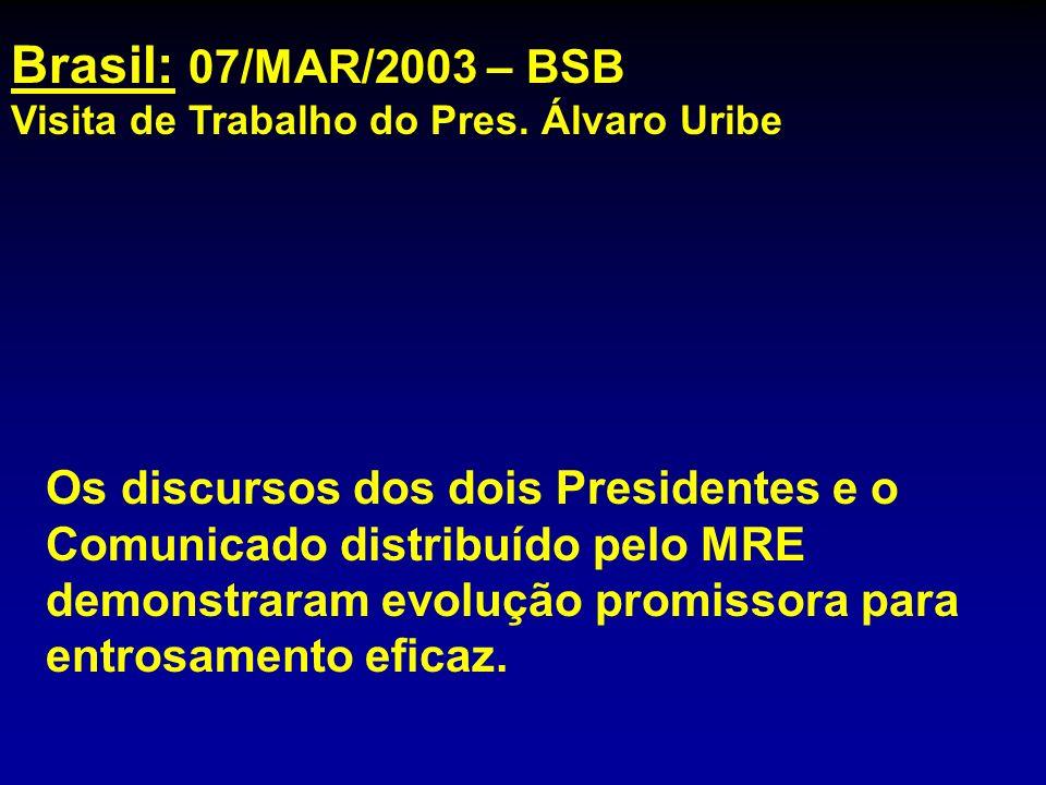 Brasil: 07/MAR/2003 – BSB Visita de Trabalho do Pres. Álvaro Uribe Os discursos dos dois Presidentes e o Comunicado distribuído pelo MRE demonstraram
