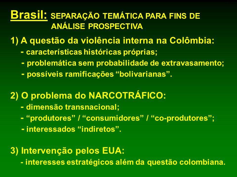 1) A questão da violência interna na Colômbia: - características históricas próprias; - problemática sem probabilidade de extravasamento; - possíveis