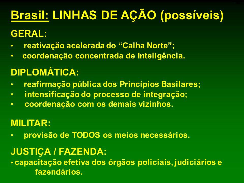 GERAL: reativação acelerada do Calha Norte; coordenação concentrada de Inteligência. Brasil: LINHAS DE AÇÃO (possíveis) DIPLOMÁTICA: reafirmação públi