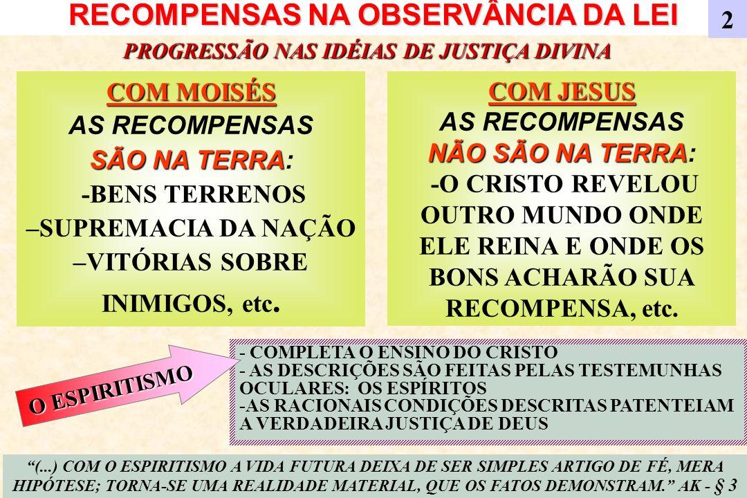A REALEZA DE JESUS A REALEZA TERRESTRE A REALEZA TERRESTRE É TEMPORAL -NEM SEMPRE É POR MÉRITO PESSOAL –NEM SEMPRE SÃO AMADOS 3 A REALEZA MORAL A REALEZA MORAL É IMPERECÍVEL - SEMPRE É POR MÉRITO PESSOAL - SEMPRE SÃO AMADOS PROGRESSÃO NAS IDÉIAS DE JUSTIÇA DIVINA (...) A REALEZA MORAL SE PROLONGA E MANTÉM SEU PODER, GOVERNA SOBRETUDO, APÓS A MORTE.