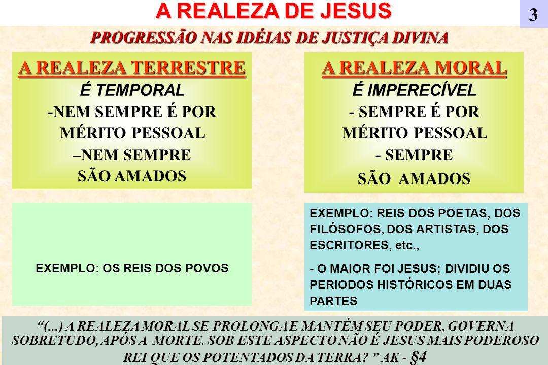 A REALEZA DE JESUS A REALEZA TERRESTRE A REALEZA TERRESTRE É TEMPORAL -NEM SEMPRE É POR MÉRITO PESSOAL –NEM SEMPRE SÃO AMADOS 3 A REALEZA MORAL A REAL