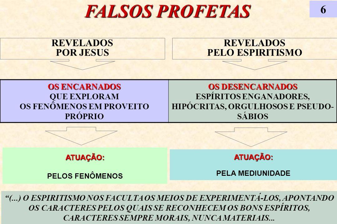 FALSOS PROFETAS 6 (...) O ESPIRITISMO NOS FACULTA OS MEIOS DE EXPERIMENTÁ-LOS, APONTANDO OS CARACTERES PELOS QUAIS SE RECONHECEM OS BONS ESPÍRITOS, CA